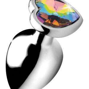Adorn your derriere with this heart shaped Rainbow Prism butt plug! The heart-shaped rainbow gem adds dazzling lustful energy to your booty