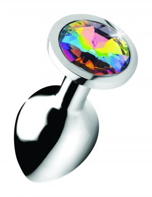 Adorn your derriere with this Rainbow Prism Gem butt plug! The rainbow gem adds dazzling lustful energy to your booty