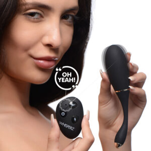 Your voice never felt so sexy! This vibrating egg from Whisperz comes equipped with voice activated technology so you can tease your partner with powerful vibration from up to 25 feet away! Tease and please your lover in public or in the comfort of your own home with this discreet Whisperz egg vibe.  Stuff this egg in your panties and take a walk around your home or your neighborhood if you dare! Hand over the power to your partner to buzz your sensitive bits with their voice for kinky public fun or unpredictable pleasure at home. Choose from 10 patterns of vibration with the remote control and find what gets your partners toes curling!  Constructed with premium