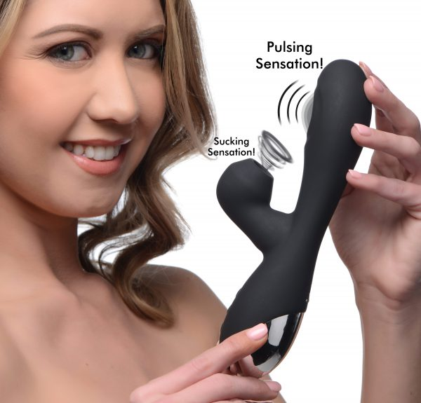 Treat yourself to some 5 star treatment with this combination G-spot and clitoral stimulator! Designed to provide you with a blended orgasm through simultaneous pleasure - The clitoral suction arm breathes and sucks on your clitoris while the pulsing shaft rhythmically taps the G-spot.       Choose from 7 different suction modes and 3 pulsing functions to send you over the edge! The included turbo mode can be switched on mid-climax to bring your orgasm to new heights - control each function with the easy to use buttons found on the ergonomic handle and change things on the fly for a highly customized experience.       The premium silicone build is phthalate free and silky smooth for a satisfying body-safe feel! The 5 Star Rabbit vibe is rechargeable via included USB charging cable