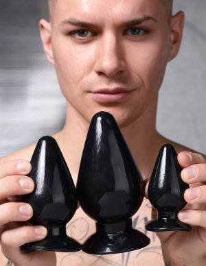 This set of Triple Cones features 3 dynamic sizes to plug you up! Long lasting toys designed to stay with you throughout your entire anal play journey - start off small and graduate to the medium and larger sized butt plugs as your mind and body get used to the new sensation of anal fill. Veterans and experts will appreciate the smaller plug for warming up and the largest plug for giving the satisfying anal stretch they crave!       This graduated trio of anal pleasure features powerful suction cup bases to secure them to any smooth and flat surface for you to ride! Tapered and crafted with the perfect mix of firmness and flexibility for a satisfying but forgiving squeeze.        Compatible with water based lubricants only.         Small Measurements  : Overall length 3.5 inches