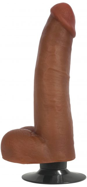 Indulge in the powerful vibration from this massive and meaty 8 inch monster! This Bareskin dildo comes with a unique power dial built at the base of the shaft so you can find the perfect amount of vibration that suits your mood! Simply twist and customize the power of thrumming to suit your needs  Each dildo is hand crafted with ultra-realistic Bareskin Material that mimics the looks and density of real dick - purposefully formulated to mimic more expensive dual density dildos without the weight and price tag! Enjoy the subtle veins and defined head