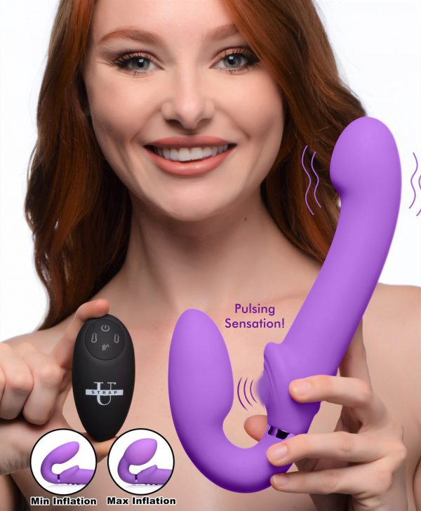 Equip your hips with a dual ended dildo designed for strapless strap-on fun! The G-Pulse offers double ended pleasure for both partners in the form of powerful vibes and clitoral pulsing. This meaty