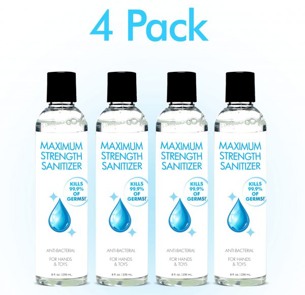 This maximum strength sanitizer kills more than 99.99 percent of most common germs that may make you sick. This 4 pack of sanitizer will keep you and your household clean for an extended period and perfect for filling travel sized bottles so you can sanitize while on the go at work or when running errands.  Drug Facts: Active ingredient Isopropyl Alcohol 70 percent - Antimicrobial  Use: Hand sanitizer to help reduce bacteria on the skin  Warnings: Flammable. Keep away from fire or flame. This product is intended for external use only. When using this product