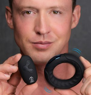 Equip your package with a powerful silicone ring designed to enhance your thrusting with a velvety ring for your lover to bump and rub against! This cock ring features a powerful vibrating core