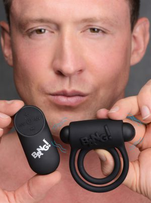 Enhance your cock with this velvety silicone ring and vibrating bullet combo! This Cock Ring from Bang! features two stretchy rings