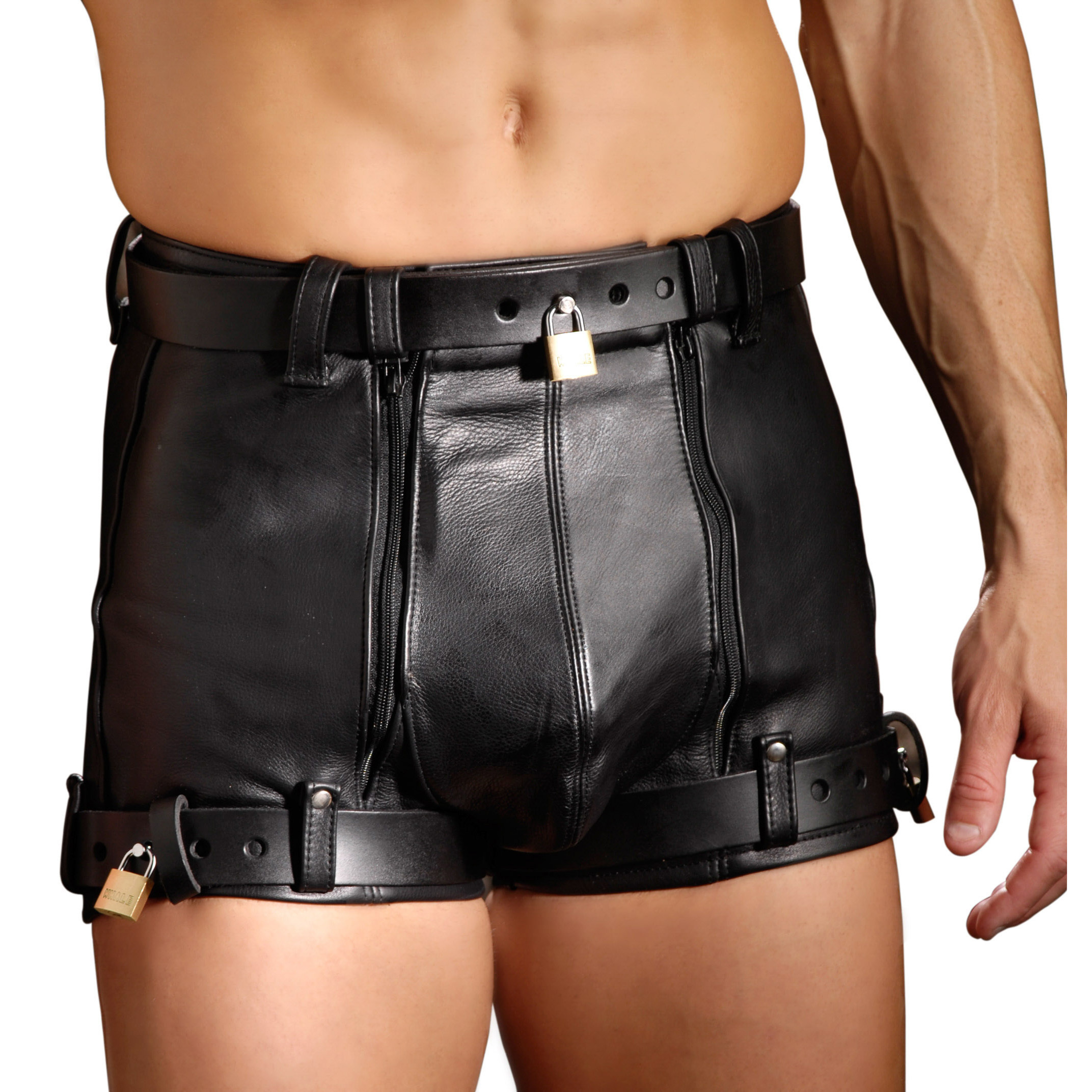 These high quality hand crafted leather chastity shorts from Strict Leather are must own for any chastity enthusiast. This is the perfect item to keep your slave or scum boyfriend/husband from getting to his own cock. Made with premium leather these chastity shorts are soft to the skin and are very durable. Perfect for extended use and to keep their penis on lockdown.