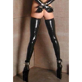 Sexy latex stockings to complete your fetish wardrobe. These Seamless latex stockings have small rolled edges at the tops. Premium quality