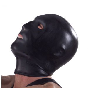 This latex hood adds a sexy and extreme element to your repertoire