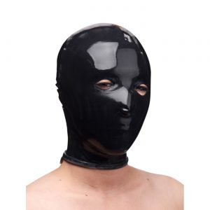 It is hard to describe the feeling a rubber mask inspires. Bondage enthusiast are going to really like this one. This restrictive and sensual hood has two eye and two small nostril holes without a mouth hole. The skin tight hood practically seals the mouth making very difficult to speak. Its can really be considered a gag. The nose holes are small making breathing slightly more difficult