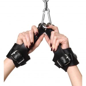 These leather suspension cuffs are very comfortable and durable. The padded fleece is soft and smooth against the skin. These are great for anyone into suspension play.