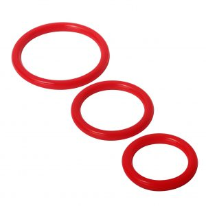 Set of Three Cock Rings. This cock ring set offers three different sized cock rings. Not sure what size you need or what might feel most comfortable? Then this is an inexpensive way to find out. Silicone has more give than other materials and tends to be comfortable. This value priced set includes these sizes: