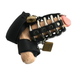 This three piece chastity device offers the security of steel and comfort of leather. The gates of hell cock cage goes over the penis. One leather locking strap secures around the cock and balls and another around the ball sack. Each strap secures to the gates of hell cage with a padlock. Each strap has 6 sizing slots to ensure a secure fit. This is not only effective