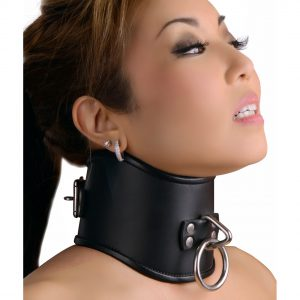 This 4-inch thick and tall curved posture collar is handmade of durable leather which will hold up to the struggling of the wearer. It forces the wearer to keep their neck perfectly straight with their chin out. It features a solid welded tri-ring on the front and a heavy locking roller buckle in back. It can be used with or without a lock.