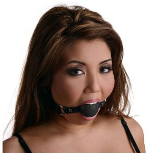"Standard Sized Silicone Ball Gag with Leather Strap. Keep them salivating for more with these smooth ball gags. Gags are perfect use for keeping your slave quite or for relaxing the anus for rear penetration. These gags very soft and are perfect for prolonged use as they are very comfortable. They come with a 20"" leather strap that is adjustable to fit most. These gags come in two colors: Black and Red. Sizes: Diameter of ball gag is 1.75 inches. This is a comfortable size for most. The strap is adjustable from 16.5-21 inches"