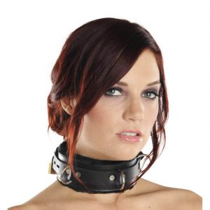 This collar is the ultimate blend of comfort and durability. It is fundamentally a wide strap of thick leather lined with two layers of ultra soft faux fur. It is wrapped with a 1 inch wide leather strap. The lockable buckle on the strap is compatible with any small padlock. With the fur included