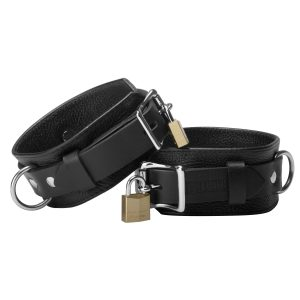 "The Strict Leather Deluxe Leather Locking Cuffs are built from durable high quality leather for long hard use. They incorporate our locking buckle system for maximum security. They"" re 2 inches wide and reinforced with another 1 inch strap. They"" re not only beautifully crafted"