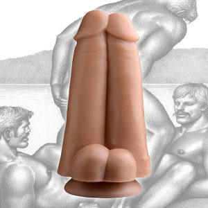 Think you can handle two cocks at once? This unique dildo presents you with two enormous erections to stuff up your ass Hand sculpted exclusively from original Tom of Finland artwork