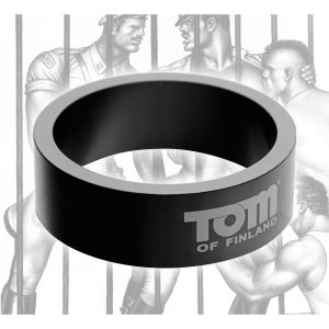 This lightweight metal cock ring is designed to keep your rod hard while staying durable and stylish. The gun metal aluminum is printed with a Tom of Finland logo