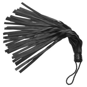 Palm floggers are ideal for when a long handle will just get in the way. This medium intensity flogger is made of a high quality leather with a nice grain. The handle is wrapped