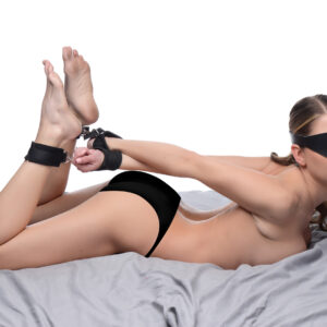 We are going to play a little game. First we are going to put this blindfold on so you can wait in true anticipation of what is next. Then feel your arms pulled tight behind your back. No