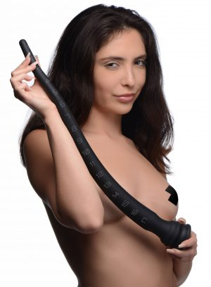 How many inches can you take? Test your limits and enjoy up to 18 inches of deep reach from this Medium Tapered Silicone Hose! The flexible nature is forgiving on your insides as you navigate through your deepest parts