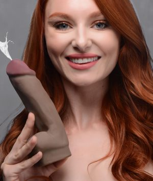 Enjoy a luscious dual density dildo and put on a show for your lover or your fans with this meaty